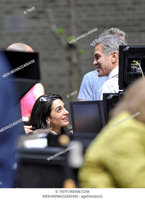 Amal Clooney visits her husband George Clooney on the set of 'Money Monsters' Featuring: Lenny Venito, George Clooney, Amal Clooney, Jack Oconnell
