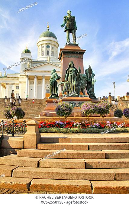 Senate square with view of Alexander II memorial and Helsinki Cathedral, Helsinki, Finland