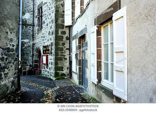 empty street, Salers, Cantal Department, Auvergne, France