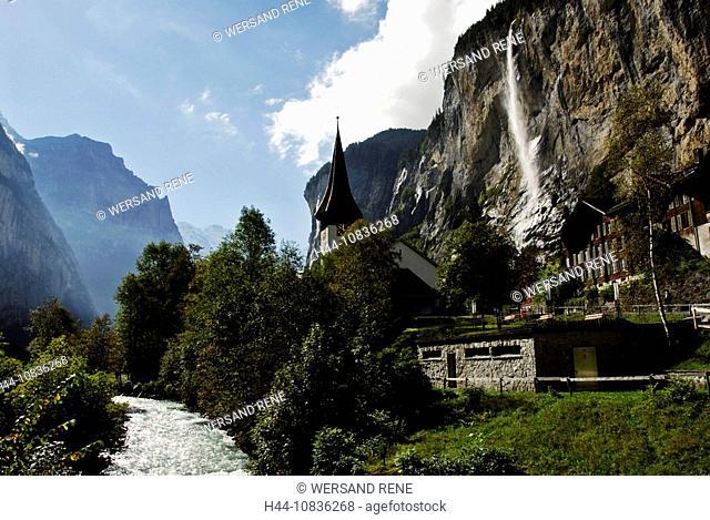 Switzerland, Europe, Lauterbrunnen, Bernese Oberland, Canton Berne, Bern, landscape, alps, village, houses, homes, chu