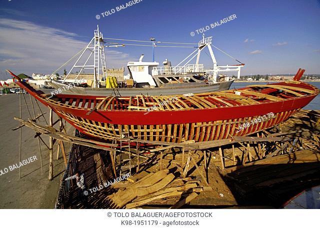 shipyard.Puerto of Essaouira Mogador. Costa Atlantica. Morocco. Maghreb. Africa