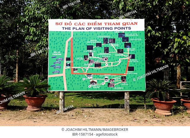 Site map of the points of interest in the open-air war museum in Cu Chi, South Vietnam, Vietnam, Southeast Asia, Asia