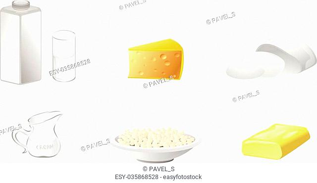 Vector illustration of a six dairy products