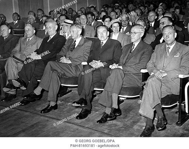 Seven Nobel laureates attend the first meeting in 1951 (L-R) Paul Hermann Müller, Otto Warburg, Gerhard Domag, Adolf Butenandt, Hans von Euler-Chelpin