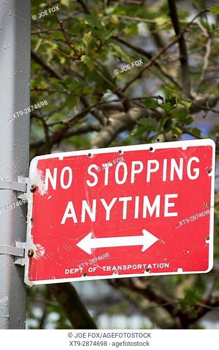 no stopping anytime New York City street signs USA