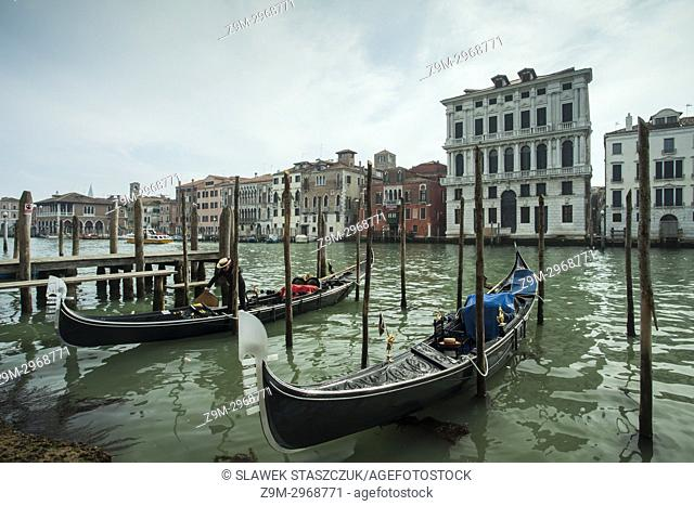 Gondolas on Grand Canal in Venice, Italy