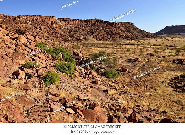 View over Twyfelfontein spring and valley, Damaraland, Kunene Province, Namibia