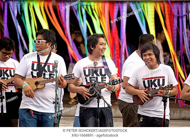 musicians with Ukulele at a Folk Festival in the Cultural Centre of the Philippines, Manila, Philippines, Asia