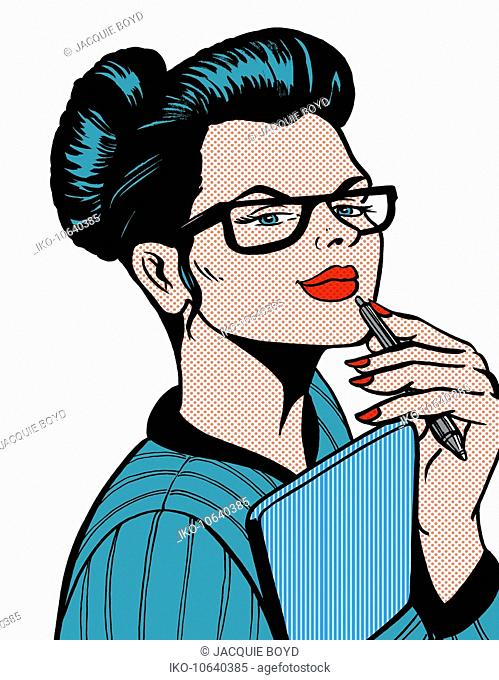 Pensive businesswoman holding pen and note pad