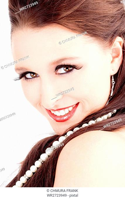 Portrait of Young Woman with Brown Hair - Isolated on White