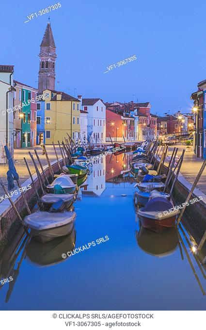 Canal and colorful houses in the evening on Burano Island, Venice, Italy