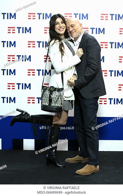 Italian comedian and presenter Virginia Raffaele and the Italian comedian and presenter Claudio Bisio in the Press Room of the 69th Sanremo Music Festival