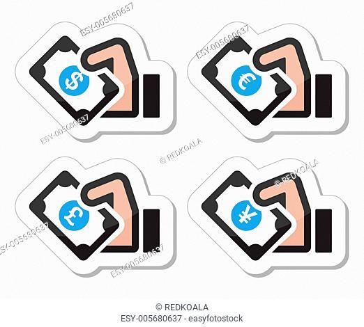 Hand with money icon - dollar, euro, yen, pound