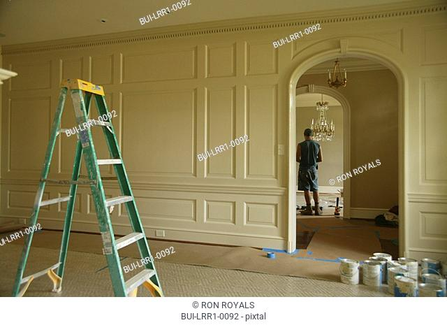 Ladder in center of traditional home being painted