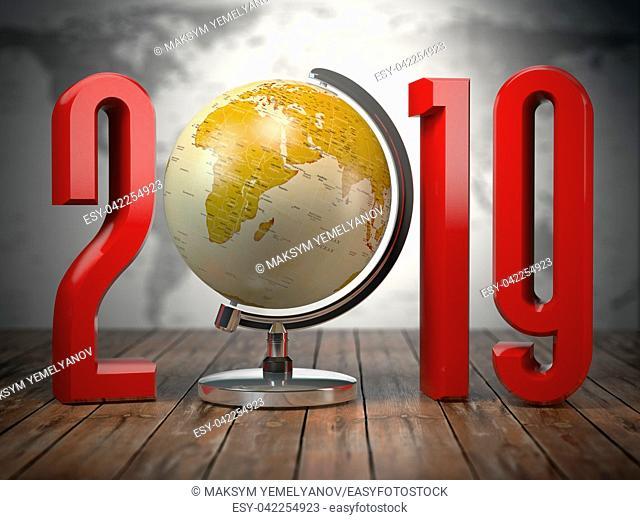2019 happy new year globe. 3d illustration