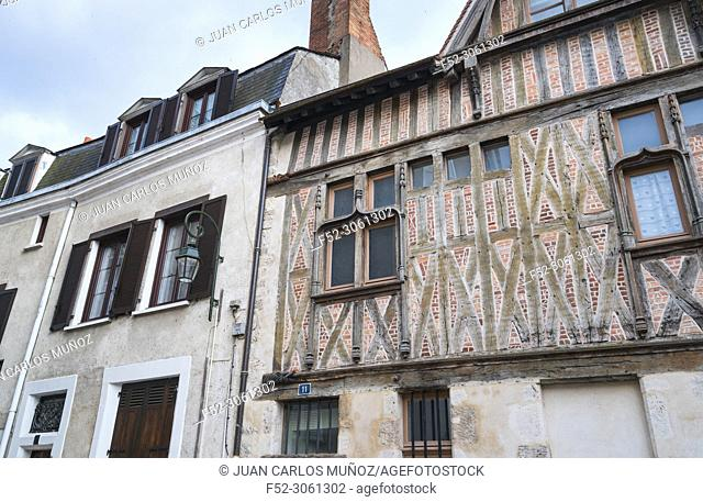 Wooden frame facade, Old wooden architecture, Orleans City, Loiret Department, The Loire Valley, France, Europe