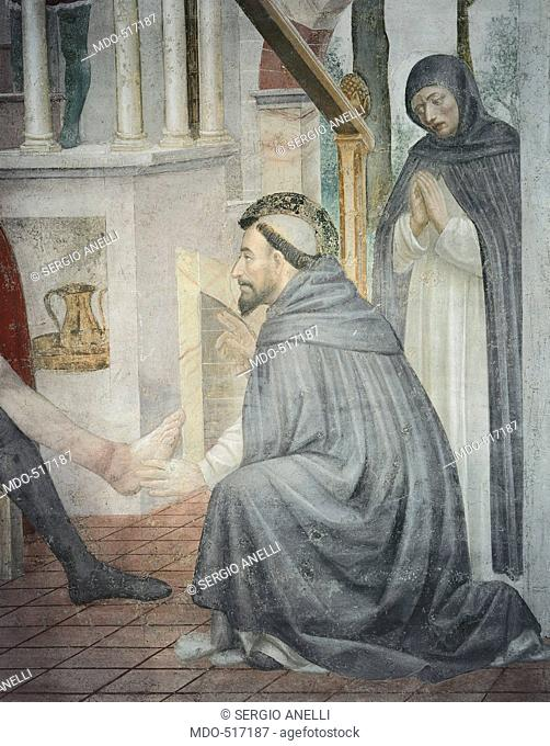 Stories of St Peter Martyr the Miracle at Narni, by Vincenzo Foppa, 1468, 15th Century, fresco, . Italy, Lombardy, Milan, SantEustorgio Basilica