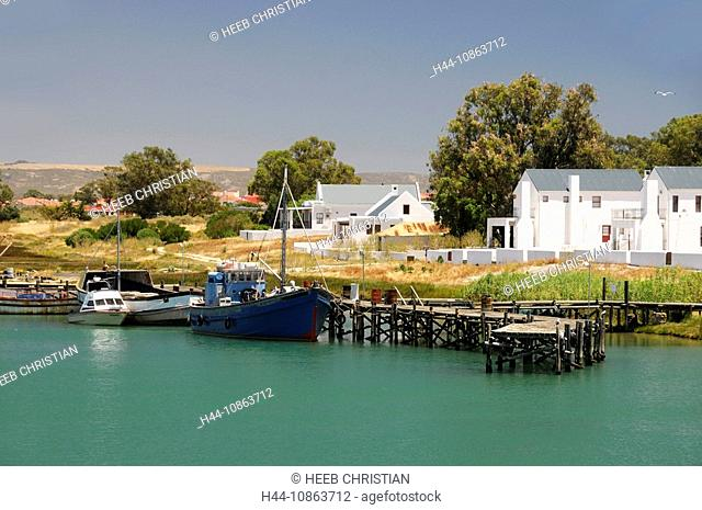 view from Bridge, inlet at Velddrif, Western Cape, South Africa, landscape, water, houses, coast, boats