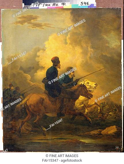 Don Cossacks. Orlowski, Alexander Osipovich (1777-1832). Oil on wood. Classicism. 1800-1810. State Tretyakov Gallery, Moscow. 69,3x58. Painting