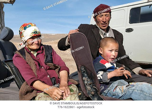 Kazakh eagle hunter's family in the Altai Region of Bayan-Ölgii in Western Mongolia