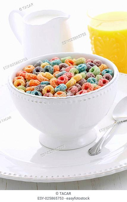 delicious and nutritious sweet, cereal loops, healthy and funny addition to kids breakfast