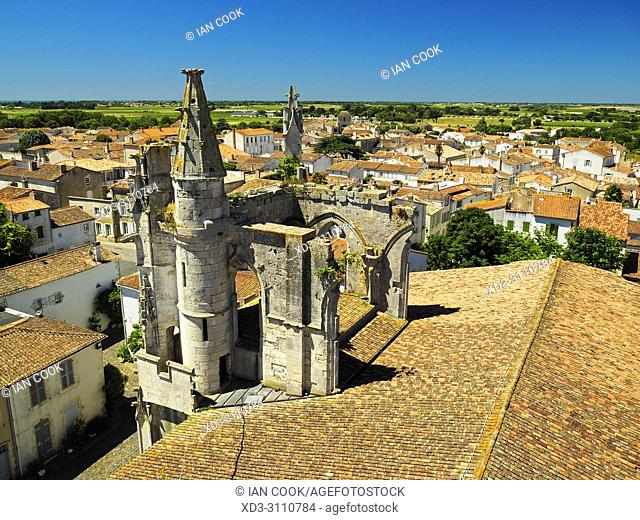 view of Saint-Martin-de-Re from clock tower, Ile de Re, Charente-Maritime Department, Nouvelle Aquitaine, France