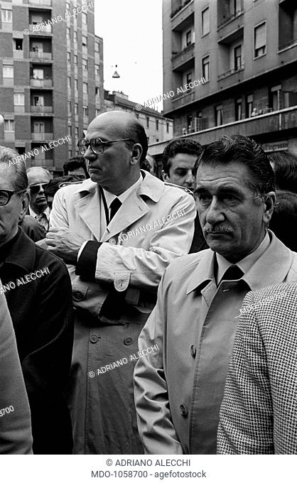 Bettino Craxi and Aldo Aniasi at the funeral of Walter Tobagi. National secretary of the Italian Socialist Party (PSI) Bettino Craxi and former mayor of Milan...