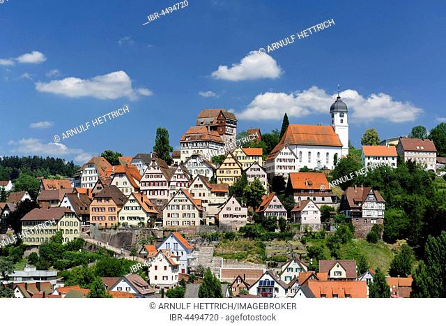 Cityscape with Castle Altensteig, Altensteig, German Framework Road, Black Forest, Baden-Württemberg, Germany