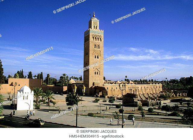 Morocco, High Atlas, Marrakesh, Imperial City, medina listed as World Heritage by UNESCO, Koutoubia Mosque built in the 12th century, typical of Almohad Art