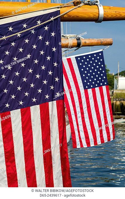 USA, Massachusetts, Cape Ann, Gloucester, America's Oldest Seaport, Annual Schooner Festival, US flag