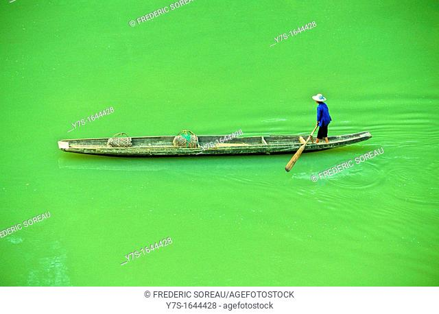 South West China, Guangxi, near Guilin, chinese fisherman on Li river
