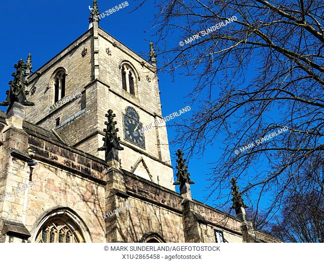 Clock Tower at St Johns Church in Early Spring Knaresborough North Yorkshire England