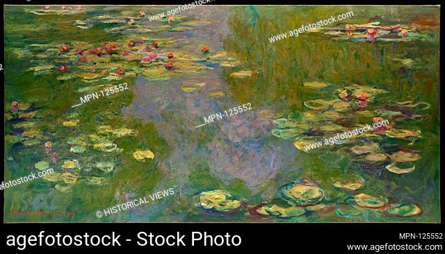 Water Lilies. Artist: Claude Monet (French, Paris 1840-1926 Giverny); Date: 1919; Medium: Oil on canvas; Dimensions: 39 3/4 x 78 3/4 in