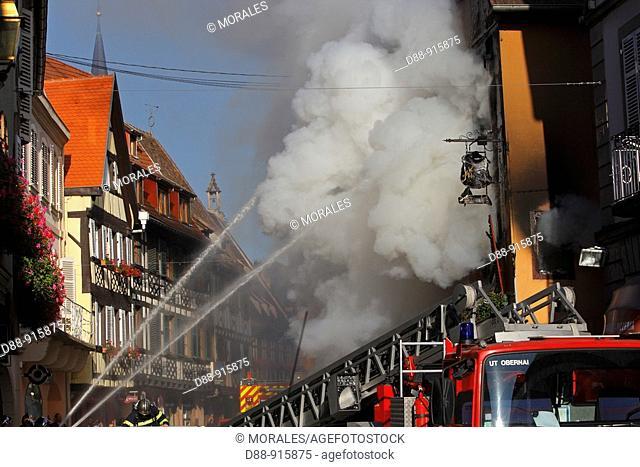 Fire in a house, Obernai, Bas Rhin, 67, France