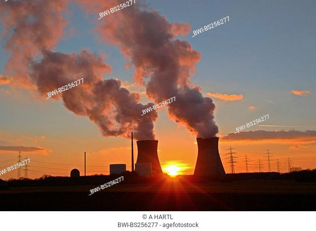 nuclear power stations at sunset, Germany, Bavaria, Guenzburg