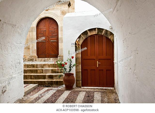 Arches at the entrance of a home in the medieval village of Lindos, Island of Rhodes, Greece
