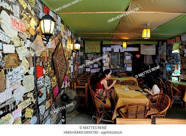 China, Guangxi province, Guilin region, near Yangshuo, Xingping, Old Place cafe