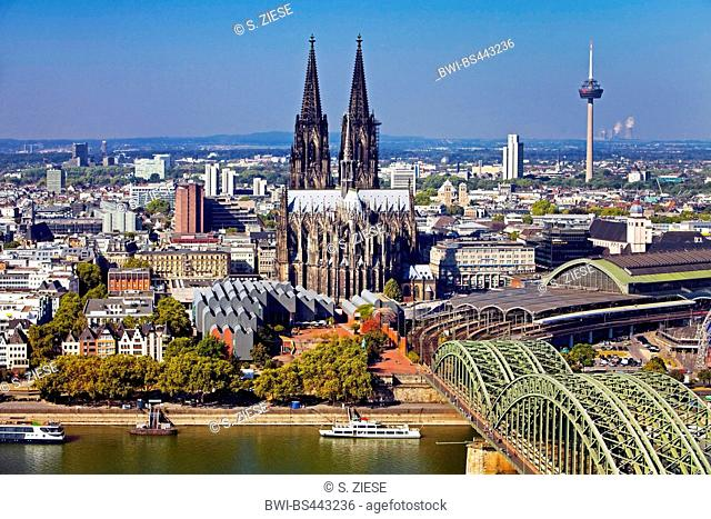 city panorama with Cologne Cathedral, Museum Ludwig, main station, Hohenzollern Bridge and Rhine , Germany, North Rhine-Westphalia, Cologne