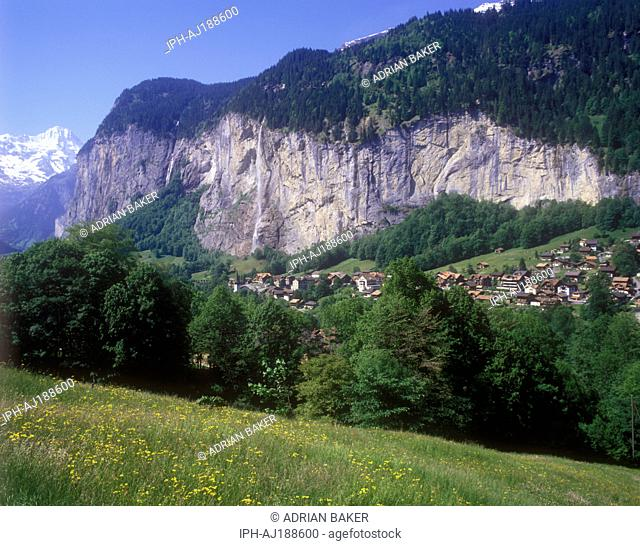 View of the village of Lauterbrunnen and the Staubbach Falls in the Lauterbrunnen Valley