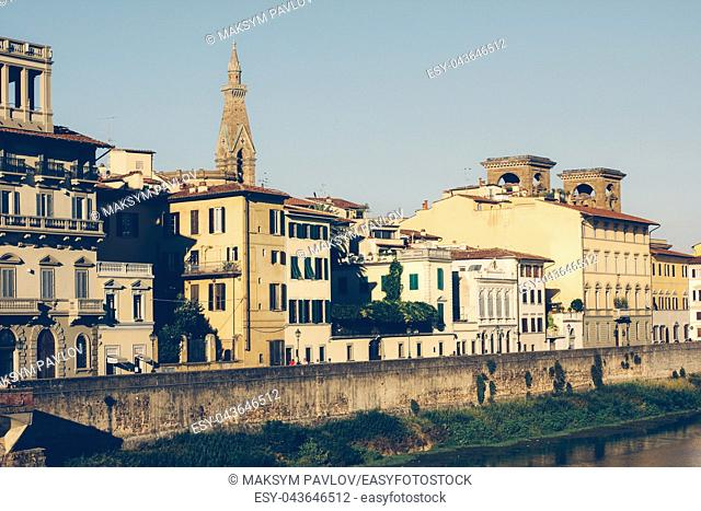 City of Florence, Tuscany, Italy Arno river embankment