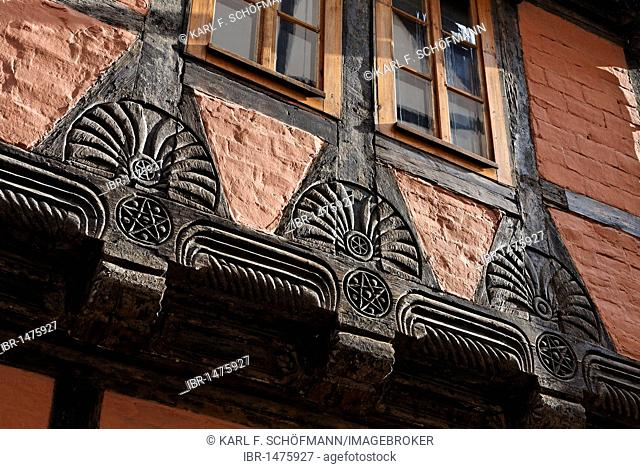 Beautifully carved beams, historic half-timbered house, Quedlinburg, Harz, Saxony-Anhalt, Germany, Europe