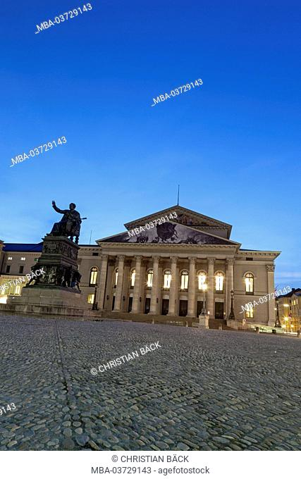 National theatre with Max's Joseph monument on the Max's Joseph square, Munich, city centre, Upper Bavaria, Bavaria, Germany