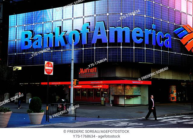 Times Square Bank of America in Midtown Manhattan,New York City,New York states,United States of America,USA