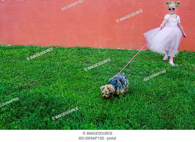 Young girl wearing tutu, walking dog