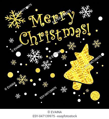 Sparkling gold Christmas design labels. Vector illustration