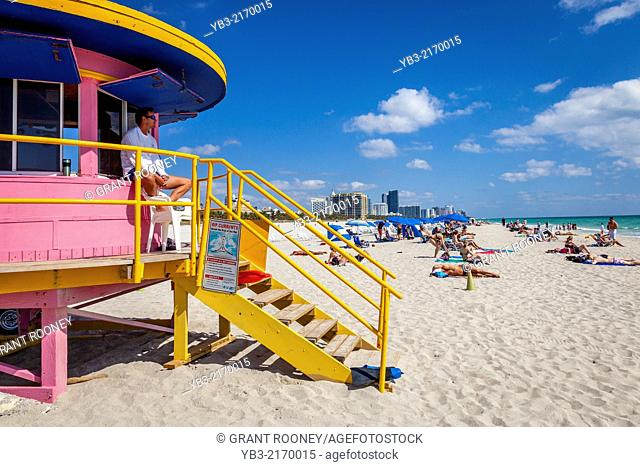 Art Deco Lifeguard Tower, South Beach, Miami, Florida, USA