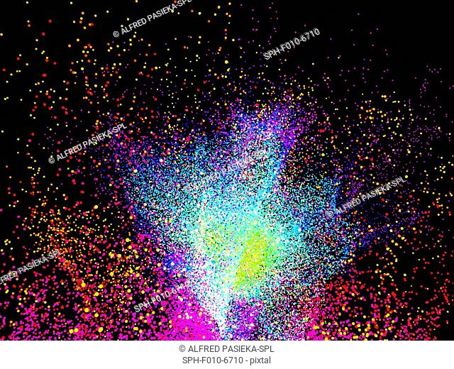 Computer artwork of a particle burst or explosion