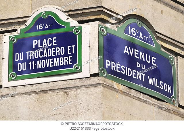 Paris, France, signs at the corner between Place de Trocadero and Avenue Wilson