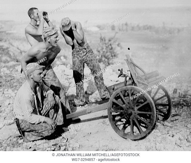 PACIFIC OCEAN Saipan -- July 1944 -- After the US Marines captured this mountain gun from the Japanese at Saipan, they put it into use during the attack on...
