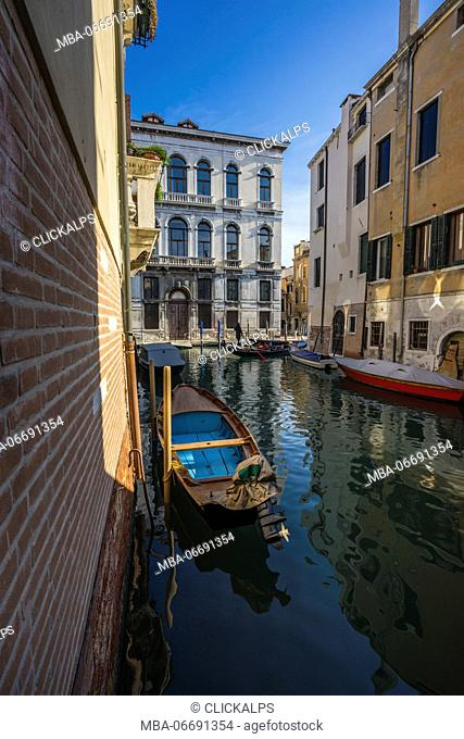 Venice, Veneto, Italy. The iconic gondola in Venice